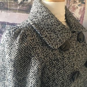 Black and White Tweed Cropped Pea Coat Size S